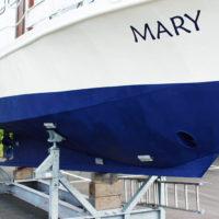 Hvid båd med blå bundmaling